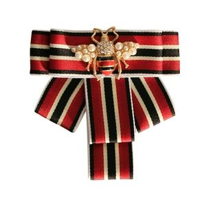 Red and Black Striped Rhinestone Bee Brooch